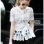 Lady Ribbon Online ขายส่ง เสื้อผ้าออนไลน์ ของแท้ ราคาถูกพร้อมส่ง เลดี้ริบบอน LR01140716 &#x1F380 Lady Ribbon's Made &#x1F380 Lady Elena Elegant Chic Button-Down White Lace Blouse with Ribbon thumbnail 4
