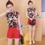 Lady Ribbon Online เสื้อผ้าแฟชั่นออนไลน์ขายส่ง เลดี้ริบบอนของแท้พร้อมส่ง sevy เสื้อผ้า SV08240716 &#x1F389Sevy Two Pieces Of Leave Stripes With Red Shorts Sets thumbnail 3