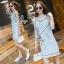 Lady Ribbon Online เสื้อผ้าแฟชั่นออนไลน์ขายส่ง เลดี้ริบบอนของแท้พร้อมส่ง Sevy เสื้อผ้า SV17240716 BEST SELLER-Restock &#x1F389Sevy Matel Hallow Light Blue Mini Denim Dress thumbnail 1