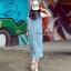 Lady Ribbon Online เสื้อผ้าออนไลน์ขายส่ง Normal Ally เสื้อผ้า NA01150816 &#x1F389Normal Ally Present Denim bib skirt summer set&#x1F389 (เอี้ยมยีนส์ปักเลื่อม + เกาะอกสีดำ) thumbnail 4