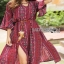 Lady Ribbon Kay Casual Bohemian Printed Flared-Sleeve Dress with Feather Belt thumbnail 2