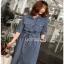 Sara Denim Shirt Lady Ribbon Dress เชิ้ตเดรส thumbnail 2
