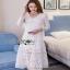Lady Ribbon Vanessa Classic Feminine White Lace Midi Dress thumbnail 4
