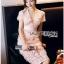 Lady Ribbon Online ขายส่งเสื้อผ้าออนไลน์เลดี้ริบบอน LR21010816 &#x1F380 Lady Ribbon's Made &#x1F380 Lady Gabriella Sexy Feminine Flower Embroidered Pinky Dress thumbnail 4