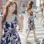 Lady Ribbon ออนไลน์ เสื้อผ้าออนไลน์ พร้อมส่งของแท้ SV05130716 &#x1F389Sevy Printed Flora Hollow Shoulder Straps Sleeveless Mini Dress thumbnail 4