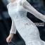 Lace Ruffle Dress Lady Ribbon เดรสลูกไม้สีขาว thumbnail 1