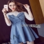 Lady Ribbon Denim Mini Dress ขายมินิเดรสเกาะอก thumbnail 5
