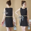 Lady Ribbon ออนไลน์ เสื้อผ้าออนไลน์ พร้อมส่งของแท้ SV04130716 &#x1F389Sevy Sleeveless Color Pleat Side Stripes Mini Dress thumbnail 3