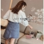 Lady Ribbon Embroidered White Cotton Top เสื้อผ้าคอตตอนสีขาว thumbnail 7