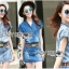 Lady Ribbon Online เสื้อผ้าออนไลน์ ขายส่งของแท้ราคาถููก LR11110716 &#x1F380 Lady Ribbon's Made &#x1F380 Lady Cindy Little Western Cowboy Denim Shirt and Shorts Set with Belt thumbnail 1
