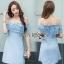 Lady Ribbon Baby Blue Lace and Crepe Mini Dress thumbnail 1
