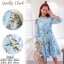 2Sister Made, Sweet Lovely Cuties Blue Wonder Dress เดรสสั้นลุคสาวหวาน ผ้าchiffonพริ้วบางเบาพิมพ์ลายดอกสวยทั้งตัว thumbnail 2