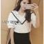 Lady Ribbon Online ขายส่ง เสื้อผ้าออนไลน์ ของแท้ ราคาถูกพร้อมส่ง เลดี้ริบบอน LR16140716 &#x1F380 Lady Ribbon's Made &#x1F380 Lady Analeigh Sweet Chic Monochrome Lace and Cotton Blouse thumbnail 5