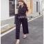 Lady Ribbon Black and White Polkadot Jumpsuit จัมป์สูทผ้าเครป thumbnail 4
