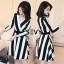 ชุด dress ลายริ้วขาวสลับดำ ทรงสวยเนื้อผ้าโพลีสเอส thumbnail 1