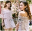 Lady Ribbon Online ขายส่งเสื้อผ้าออนไลน์เลดี้ริบบอน LR20010816 &#x1F380 Lady Ribbon's Made &#x1F380 Lady Nicole Sweet Feminine Off-Shoulder Lace and Polyester Dress thumbnail 3