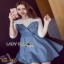 Lady Ribbon Denim Mini Dress ขายมินิเดรสเกาะอก thumbnail 2