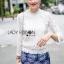 Lady Ribbon Online ขายส่งเสื้อผ้าออนไลน์ ขายส่งของแท้พร้อมส่ง Lady Ribbon LR02050716 &#x1F380 Lady Ribbon's Made &#x1F380 Lady Becca Smart Elegant High-Neck White Lace Blouse thumbnail 2
