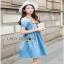 Blue Denim Dress Lady Ribbon เดรสผ้าเดนิม thumbnail 1