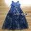 Lady ribbon Joanna Navy Blue Tulle Evening Gown thumbnail 7