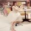 ชุดเดรสเกาหลีโทนสีครีม เย็บทับด้วยผ้ามุ้งปักลาย thumbnail 3