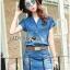 Lady Ribbon Online เสื้อผ้าออนไลน์ ขายส่งของแท้ราคาถููก LR11110716 &#x1F380 Lady Ribbon's Made &#x1F380 Lady Cindy Little Western Cowboy Denim Shirt and Shorts Set with Belt thumbnail 4