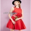 Lady Ribbon Rose Embroidered Dress เดรสคัทเอาท์เอวตกแต่งดอกกุหลาบสีแดง thumbnail 4