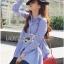 Lady Ribbon Online เสื้อผ้าออนไลน์ขายส่ง Lady Ribbon เสื้อผ้า LR12180816 &#x1F380 Lady Ribbon's Made &#x1F380 Lady Lauretta Minimal Chic Poplin Cotton Long Shirt with Ribbon เชิ้ตยาวผ้า thumbnail 4