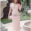 Lady Ribbon Online เสื้อผ้าออนไลน์ขายส่ง Lady Ribbon เสื้อผ้า LR05180816 &#x1F380 Lady Ribbon's Made &#x1F380 Lady Gabriella Sexy Feminine Flower Embroidered Pinky Dress thumbnail 2