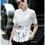 Lady Ribbon Online ขายส่ง เสื้อผ้าออนไลน์ ของแท้ ราคาถูกพร้อมส่ง เลดี้ริบบอน LR01140716 &#x1F380 Lady Ribbon's Made &#x1F380 Lady Elena Elegant Chic Button-Down White Lace Blouse with Ribbon thumbnail 2