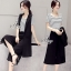 Sevy Three Pieces Of Strips T-Shirt Cover By Chiffon Blazer With Pants Sets thumbnail 3