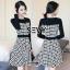 ชุด dress ลายชิโนริ ดีเทลแขนยาว ซิปหลัง thumbnail 4