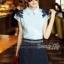 Lady Ribbon Online เสื้อผ้าออนไลน์ขายส่ง Normal Ally เสื้อผ้า NA04150816 &#x1F389Normal Ally Present flower lace decorate shirt and pant set&#x1F389 (เสื้อแต่งลูกไม้บ่า+กางเกงกระโปรงแต่งเชือกเปียเอว) thumbnail 5