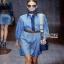 Gucci Blue Denim Shirt Lady Ribbon Dress เชิ้ตเดรส thumbnail 1
