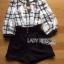 Lady Ribbon Online เสื้อผ้าออนไลน์ขายส่ง Lady Ribbon เสื้อผ้า LR13180816 &#x1F380 Lady Ribbon's Made &#x1F380 Lady Kim Smart Casual Check Embroidered Playsuit thumbnail 5