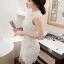 Lady Ribbon Harley Smart Feminine Sleeveless Mixed Lace Shirt Dress thumbnail 2
