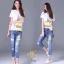 ชุดเซทเสื้อยืด+กางเกงยีนส์ทรงเดฟ ผ้ายีนส์ฮ่องกง thumbnail 2