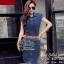 2Sister Made, Smart Elegant Jean Dress with Vintage Brown Belt เดรสยีนส์ ผ้าเดนิมเนื้อนิ่ม thumbnail 3