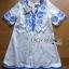 Blue and White Embroidered Dress เดรสปักและตกแต่งลายสีฟ้า- thumbnail 3