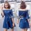Lady Ribbon Denim Mini Dress ขายมินิเดรส thumbnail 2