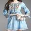 Lady Ribbon Soft Denim Dress เดรสผ้าเดนิมอ่อน thumbnail 1