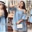 Lady Ribbon ขายส่งเสื้อผ้าออนไลน์พร้อมส่งของแท้ LR01220716 &#x1F380 Lady Ribbon's Made &#x1F380 Lady Victoria Casual Chic Off-Shoulder Soft Denim Dress thumbnail 1
