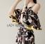 Lady Ribbon Online เสื้อผ้าออนไลน์ ขายส่งของแท้ราคาถููก LR07110716 &#x1F380 Lady Ribbon's Made &#x1F380 Lady Carley Beachy Relax Off-Shoulder Ruffle Maxi Dress thumbnail 3
