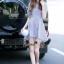 NA11290816 &#x1F389Normal Ally Present blue and white striped decorate southsea white pearl dress&#x1F389 (เดรส , งานแต่งห่วงมุก) thumbnail 5
