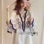 Classic Dark Blue and White Embroidered Dress เดรสปักและตกแต่งลาย thumbnail 3