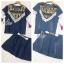 Lady Ribbon Online ขายส่งเสื้อผ้าออนไลน์ เสื้อผ้า Sevy SV01030816 &#x1F389Sevy Two Pieces Of Triangle Scarf Denim Sets Type: Blouse+Shorts(Sets) Fabric: Denim+Cotton Detail: thumbnail 5