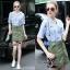Lady Ribbon Online เสื้อผ้าออนไลน์ขายส่ง Normal Ally เสื้อผ้า NA11150816 &#x1F389Normal Ally Present Pineapple print shirt striped and army tone skirt set&#x1F389 thumbnail 1