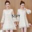 Mini dress โทนสีครีม แขนยาวทรงแขนกระดิ่งน่ารักๆ thumbnail 1