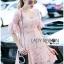 Lady Ribbon ขายส่งเสื้อผ้าออนไลน์พร้อมส่งของแท้ LR20220716 &#x1F380 Lady Ribbon's Made &#x1F380 Lady Anna Sweet Feminine Floral Pink Lace Dress เ thumbnail 2