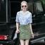Lady Ribbon Online เสื้อผ้าออนไลน์ขายส่ง Normal Ally เสื้อผ้า NA11150816 &#x1F389Normal Ally Present Pineapple print shirt striped and army tone skirt set&#x1F389 thumbnail 3